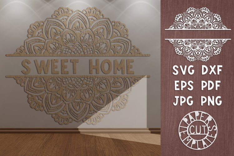 SVG mandala split monogram for laser cutting, Cricut. example image 1