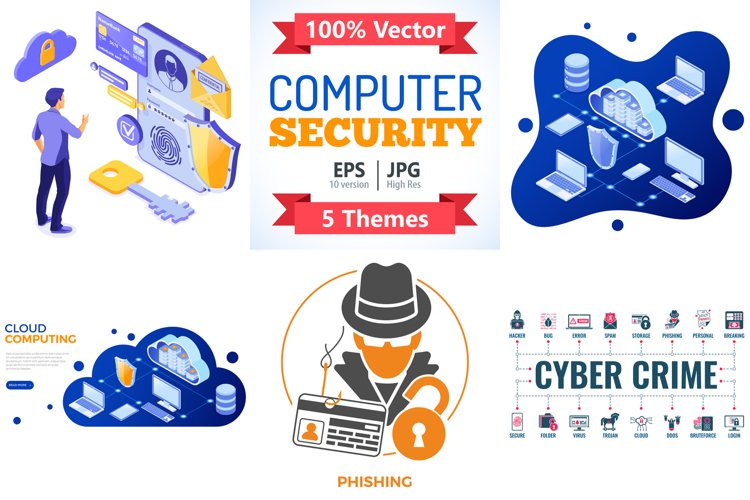 Cyber Security Isometric Concept example image 1