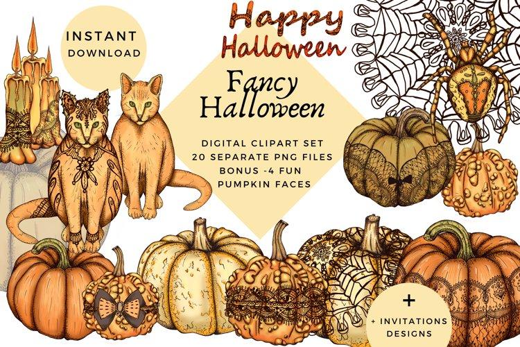 Fancy halloween clipart, halloween party png set, pumpkins