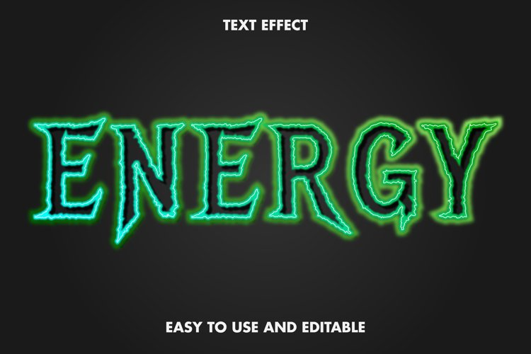 Energy text effect. editable and easy to use. premium vector example image 1