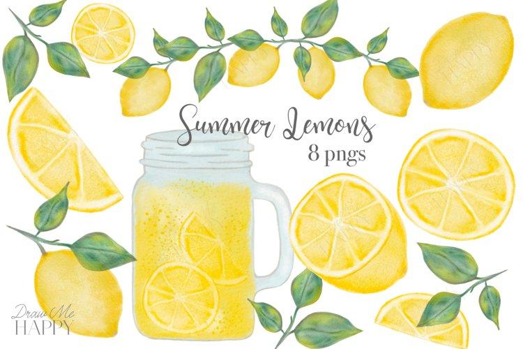 Lemon Clipart, Fruit Clipart, Mason Jar, Lemonade, Lemon example image 1
