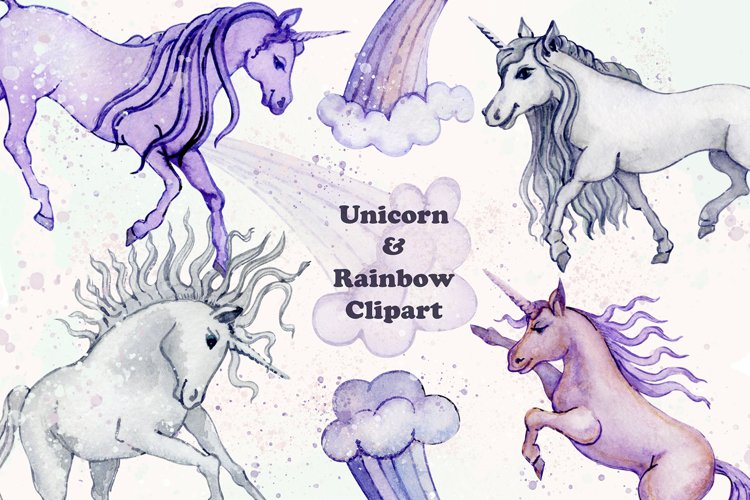 Unicorn and Rainbow Clipart, Watercolor png example image 1