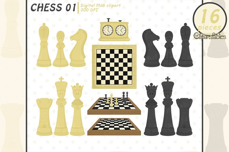 Cute CHESS clipart, Sport clipart for kids, INSTANT download example image 1
