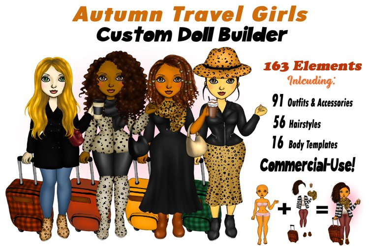 Fall Fashion &Travel Clipart DIY Best Friends Clipart PNG example image 1