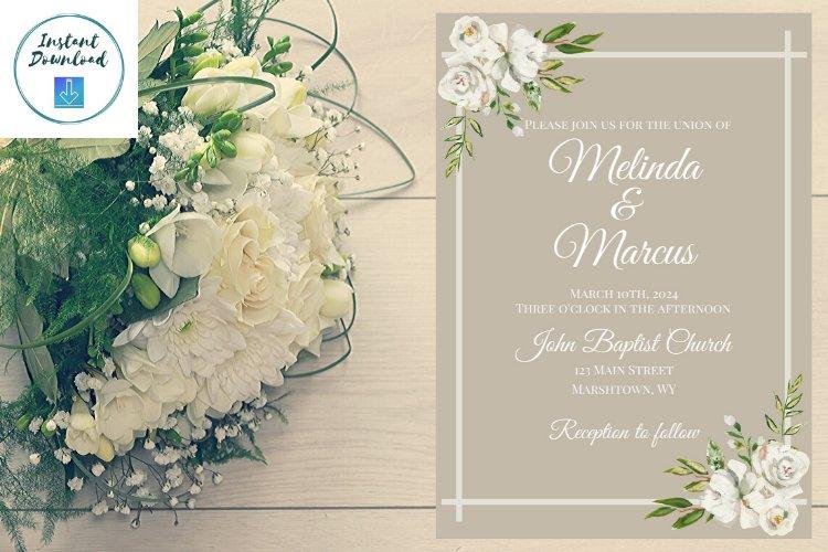 White and Cream Wedding Invitation example image 1