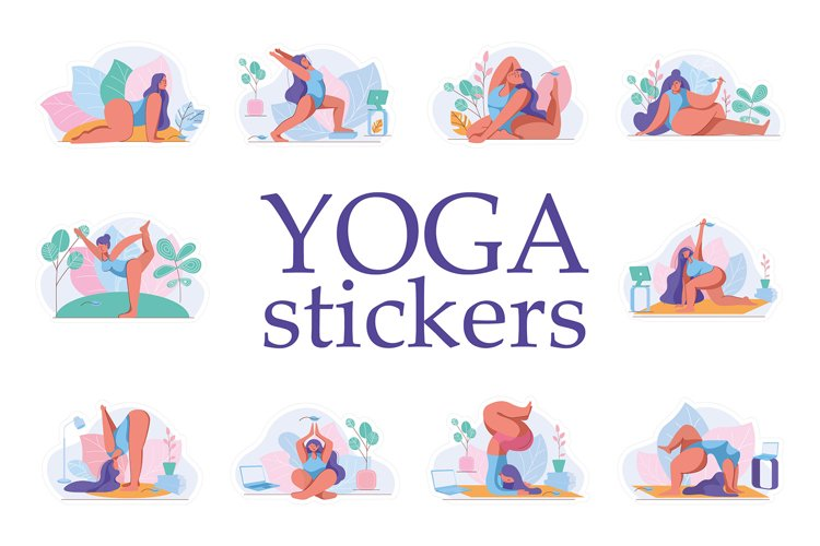Yoga stickers. Girl in sports.