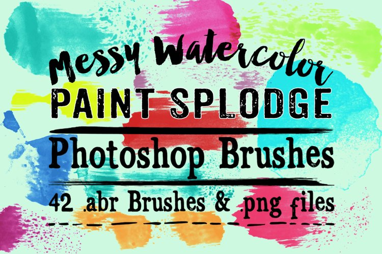 Messy Watercolor Paint Splodge Photoshop Brushes example image 1