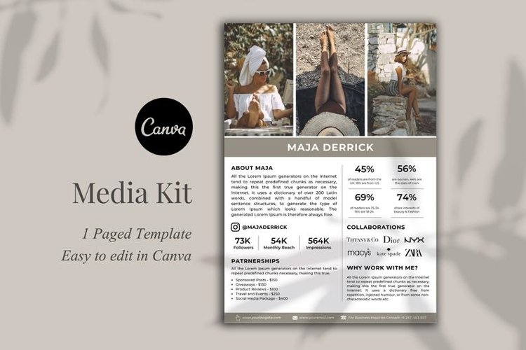 Media Kit Template, 1 Page, Canva example image 1