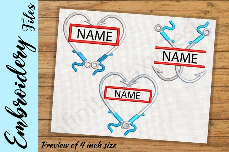 Fishing Hooks - Embroidery Design files example image 1