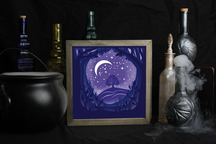 Forest Night Light Box - 5 layers example 3