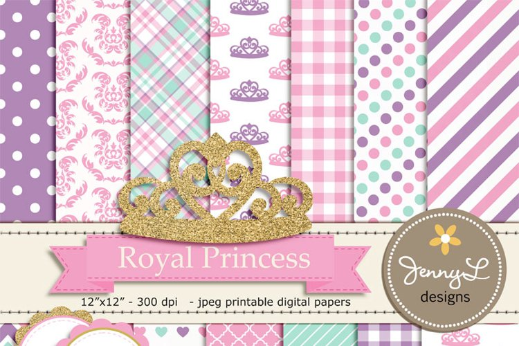 Royal Little Princess Digital papers and Clipart, Gold Crown Baby Shower, Birthday Blue Birth Announcement, Scrapbooking Party Theme example image 1
