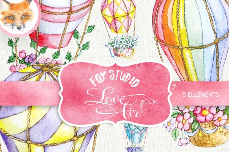 Air Balloons Romantic Wedding Digital, Watercolor Valentine example image 1