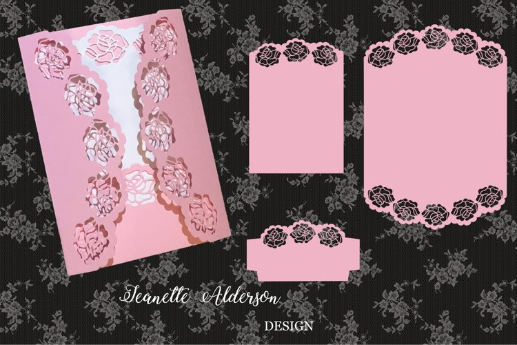 SVG May Roses Gatefold Card Cutting File example image 1