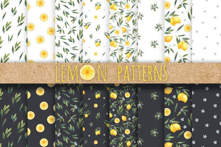 set of watercolor patterns, citrus design, printing, fabric