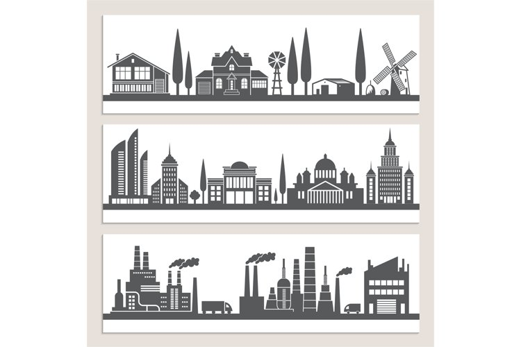 Set of horizontal banners with monochrome illustrations of u example image 1