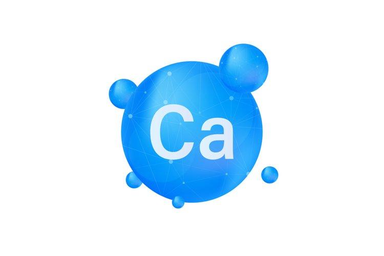 Blue calcium on white background. Calcium mineral. Ca pill example image 1