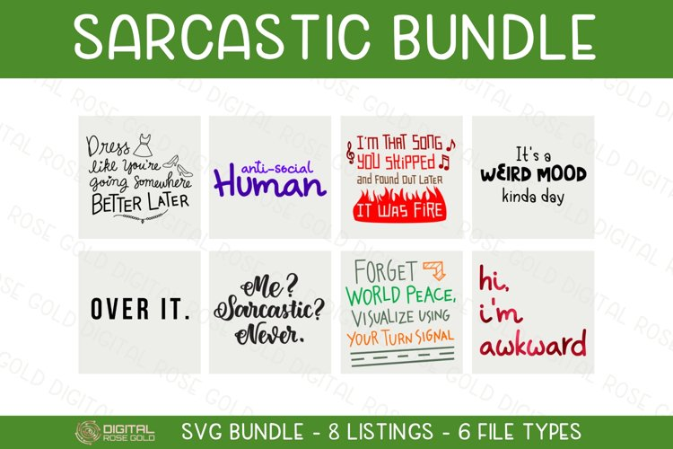 Sarcastic Bundle - SVG BUNDLE - Funny Awkward Silly Quotes example image 1