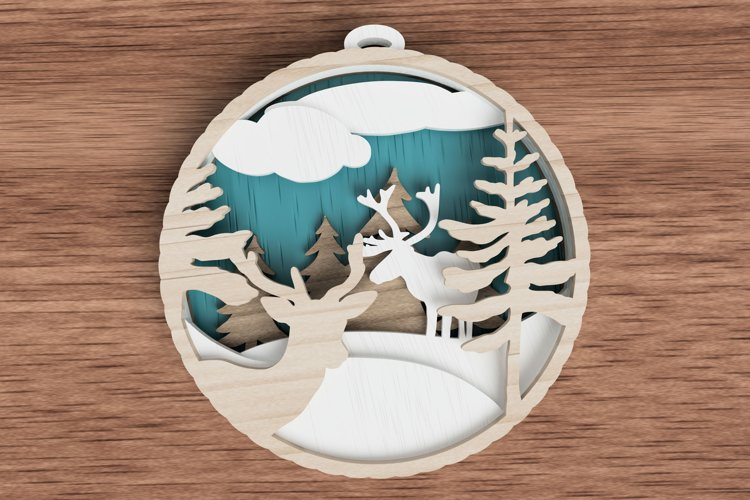 Christmas ornament laser cut file - deer in the woods