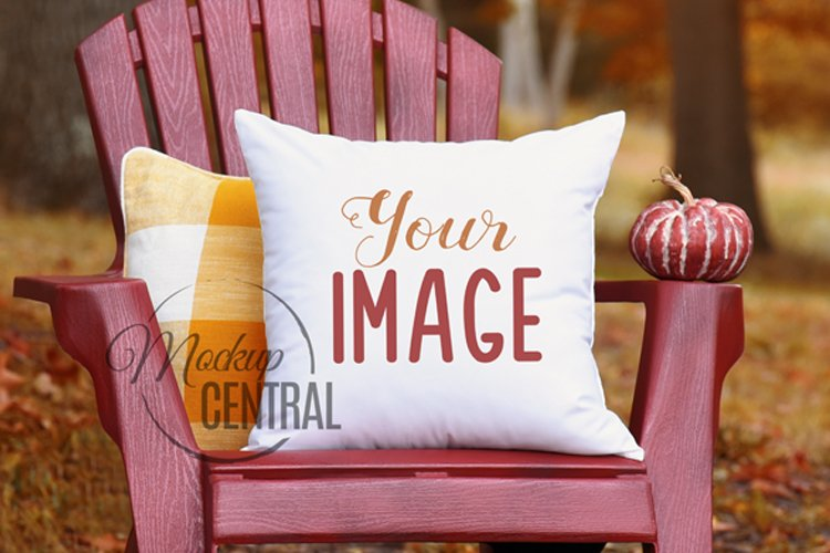 Fall Square Rustic Mockup Country White Pillow JPG example image 1