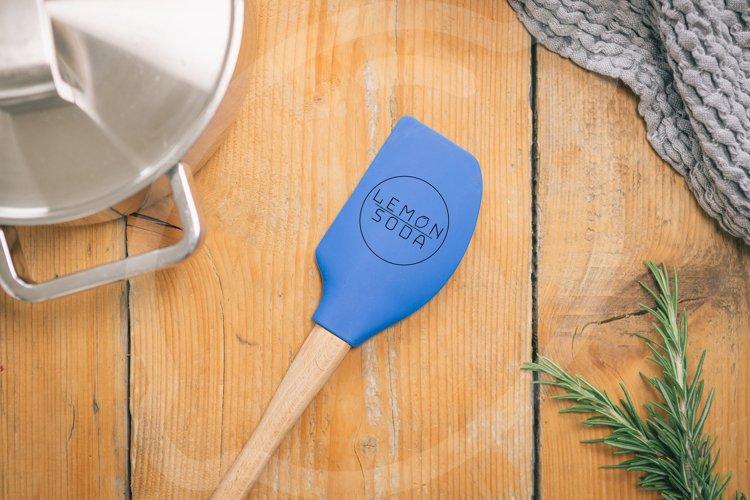 Mockup | mockup spatula on wooden table | table setting example image 1