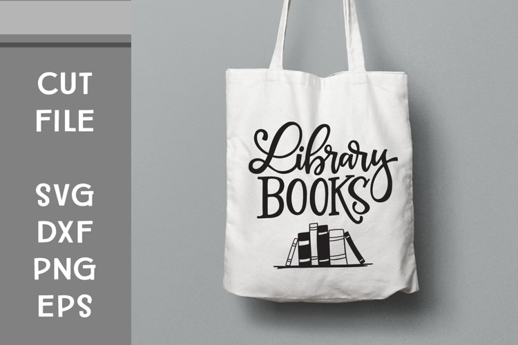 Library Books, Hand Lettered, Cut File