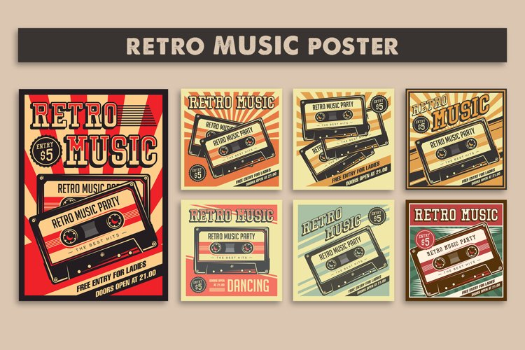 Retro Music Compact Cassette Vintage Signage Poster example image 1