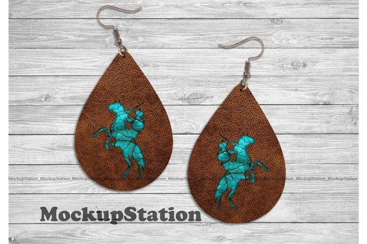Western Drop Earring Sublimation Design| Turquoise Cowboy