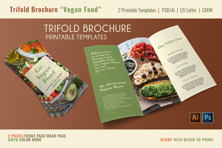 Trifold Vegan Food - 2 Printable Templates PSD-AI