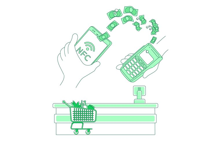 E-payment terminal thin line concept vector illustration example image 1