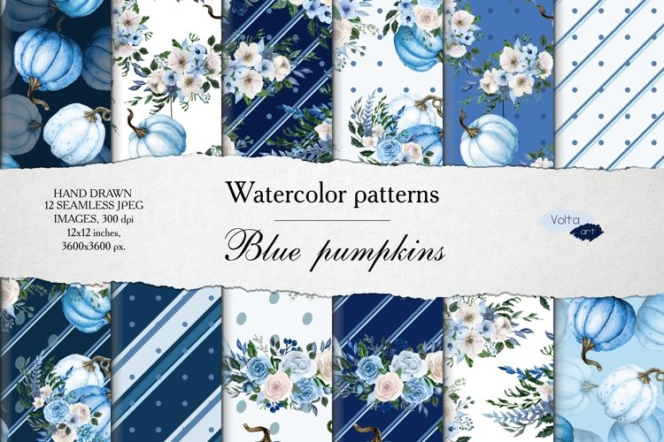 Watercolor Blue pumpkin and peony patterns, Digital Paper example image 1
