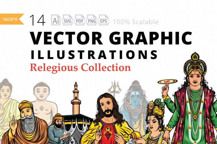 14 Vector Graphic Illustrations Pack of Relegious Collection example image 1