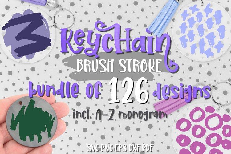 Keychain brush stroke Svg Bundle of 126 designs and Monogram