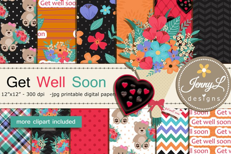 Get Well Soon Digital Papers and Flower Bouquet Clipart example image 1