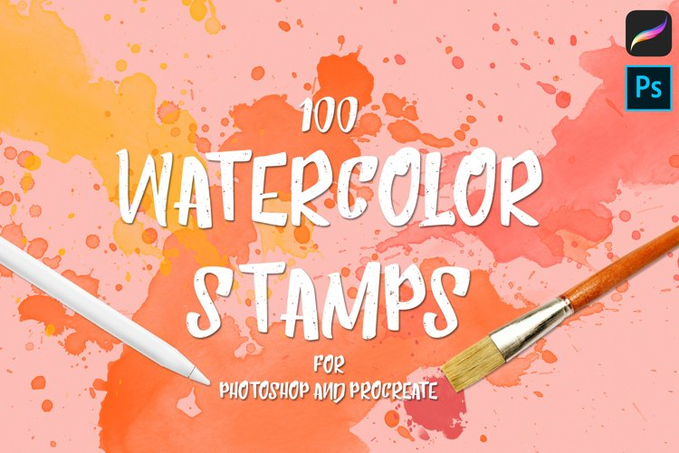 100 Watercolor Stamp Brushes for Procreate and PS example image 1