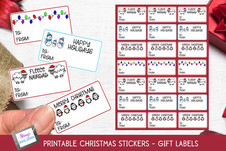 Christmas Stickers - Print and Cut Gift Stickers - Gift Tags example image 1