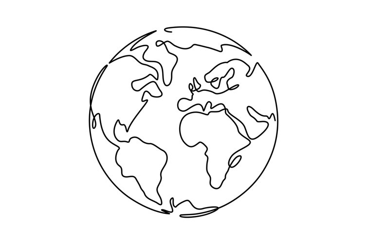 Earth. One line globus, world planet graphic icon, america, example image 1