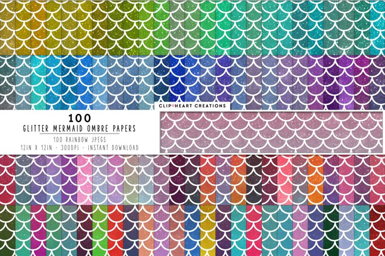 100 Glitter Ombre Mermaid Scales Digital Papers example image 1