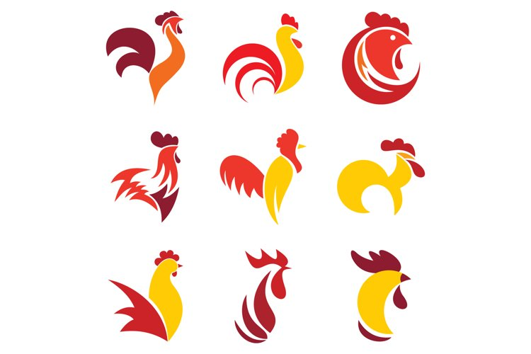 rooster logo set flat style 554844 illustrations design bundles rooster logo set flat style