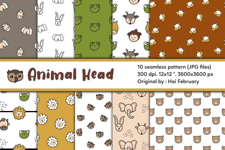 Animal Head Digital Paper Seamless Pattern Set