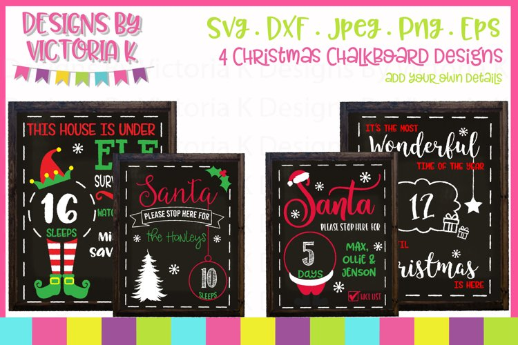 4 Christmas Countdown Chalkboard Designs, SVG, DXF, PNG
