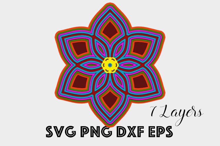 3d Mandala SVG - Layered Mandala Flower SVG PNG DXF EPS