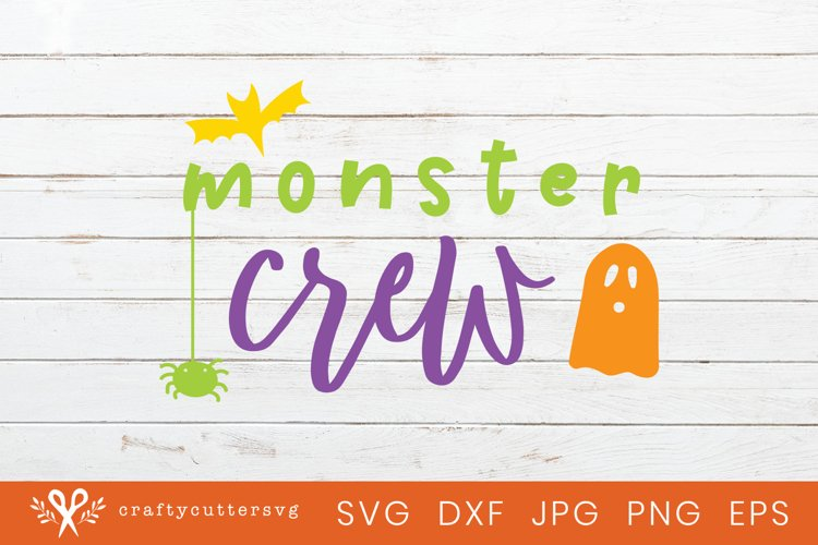 Monster Crew Halloween Svg Cut File Bat Spider Ghost Clipart example image 1