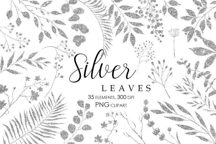 Silver Glitter Leaves Clipart, Gold Glitter design elements
