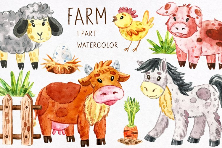 Domestic animals watercolor clipart. JPEG PNG example image 1