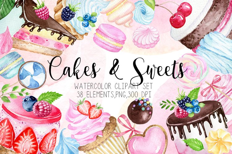 Watercolor desserts clipart, Watercolor cakes clipart example image 1