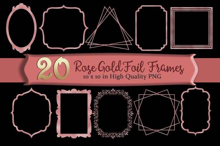 Rose Gold Frames Clipart Set of 20