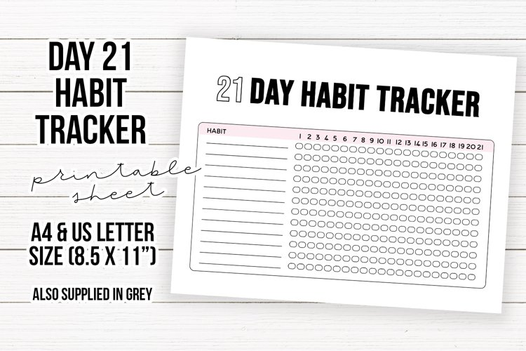 Printable 21 Day Habit Tracker Sheet | Planner Page Sheet example image 1