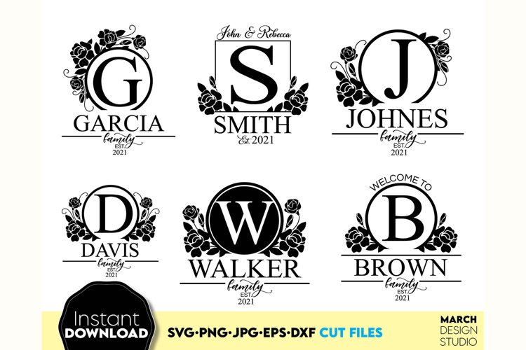 Monogram SVG File, Family Monogram SVG, Floral monogram SVG example image 1