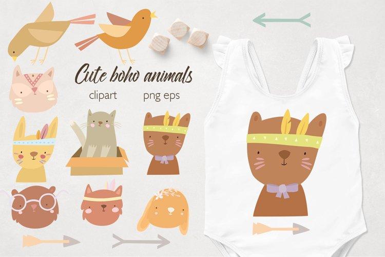 Boho baby animals. Animal faces. Sublimation baby animals example image 1