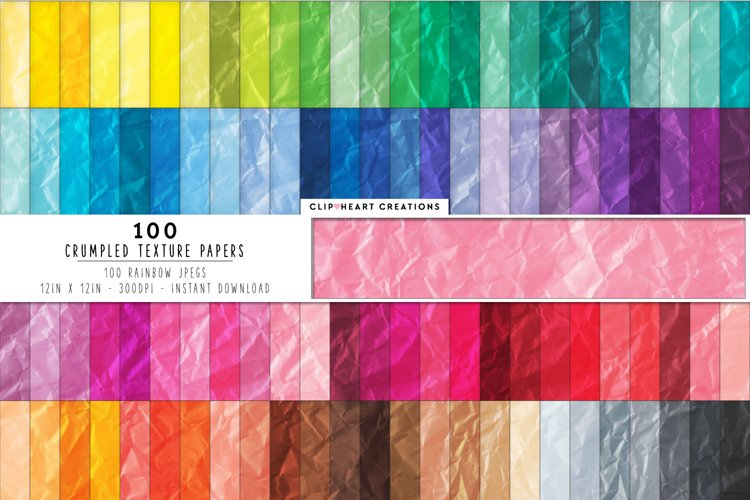 100 Crumpled Papers Digital Papers in Rainbow Colors example image 1